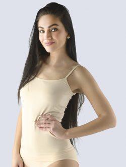 Majica iz bambusa v kožni barvi za ženske s tankimi naramnicami