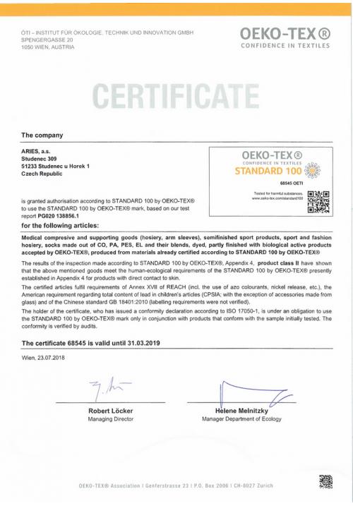 Aries Oeko Tex certifikat