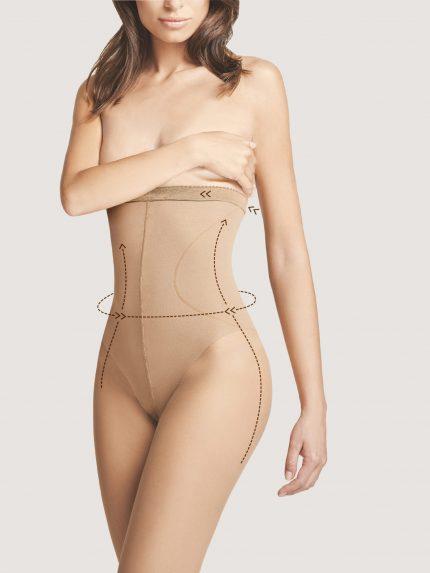 Perilo za oblikovanje postave High Waist Bikini 20 den kožna barva