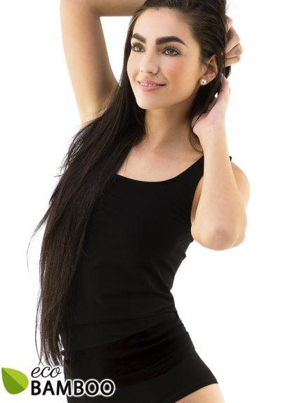 Črna majica brez rokavov iz eco bambusa