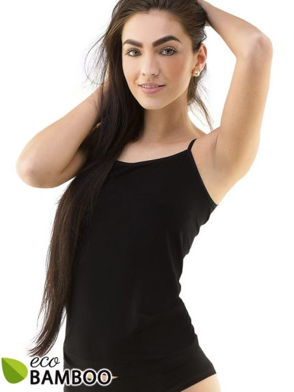 Ženska majica iz bambusa z ožjimi rokavi Eco Bamboo - črna