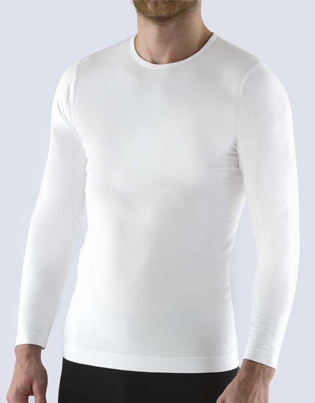 Moška majica iz bambusa z dolgimi rokavi Bsoft - bela