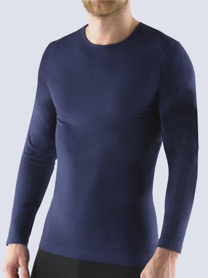 Moška majica iz bambusa z dolgimi rokavi Bsoft - temno modra