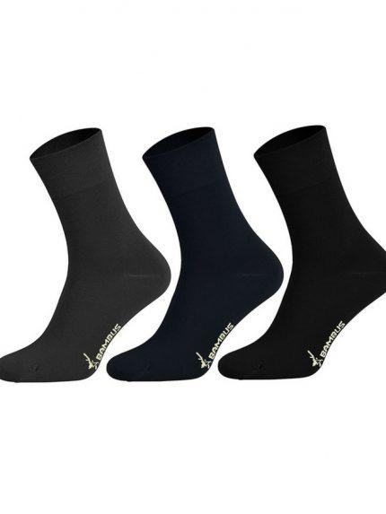 Nogavice iz bambusa 3 pari siva temno modra črna