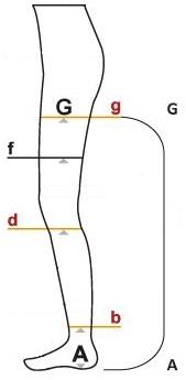 Samostoječe nogavice Slika za tabelo velikosti