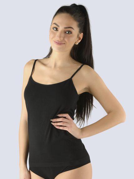 Ženska majica iz bambusa s tankimi naramnicami Bsoft - Črna