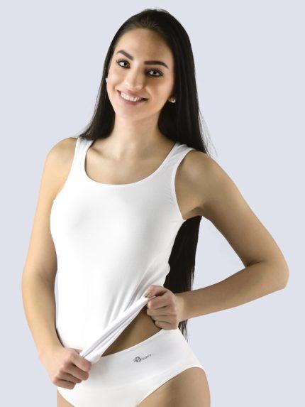 Ženska majica iz bambusa brez rokavov Bsoft - Bela