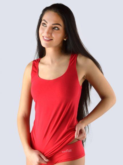 Ženska majica iz bambusa brez rokavov - dolga - rdeča