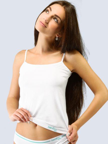 Ženska majica iz bambusa s tankimi naramnicami - bela
