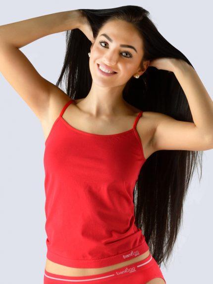 Ženska majica iz bambusa s tankimi naramnicami - rdeča